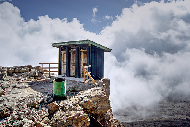 The toilet at 4600 metre altitude on the slopes of Kilimanjaro in Barafu camp.